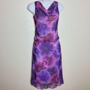 Purple Floral Pattern Tank Skirt Set